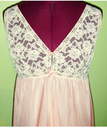 Sweet 60's Vintage Pink and White Lace Negligee... - $20.00
