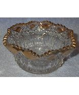 Eapg Pressed Pattern Glass Bowl with Gold Trim - $6.95