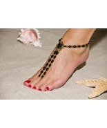 Antique Black Handcrafted Beaded Barefoot Sandals - $59.99