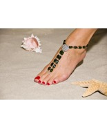 Emerald Celtic Handcrafted Beaded Barefoot Sandals - $69.99