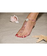Pink Paradise Handcrafted Beaded Barefoot Sandals - $79.99
