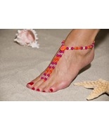 Tropical Sunset Handcrafted Beaded Barefoot San... - $74.99
