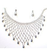 NP03 Crystal Ball Chain Bib Necklace Set  - $9.99