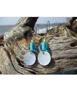 Mother of pearl aqua and green glass bead earri... - $7.99