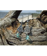 Aqua blue beach glass colored dangle earrings h... - $8.99