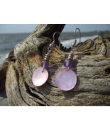 Pink Mother of pearl and purple glass bead earr... - $8.99