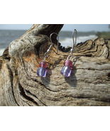 Pink and Purple glass bead earrings silver - $7.99