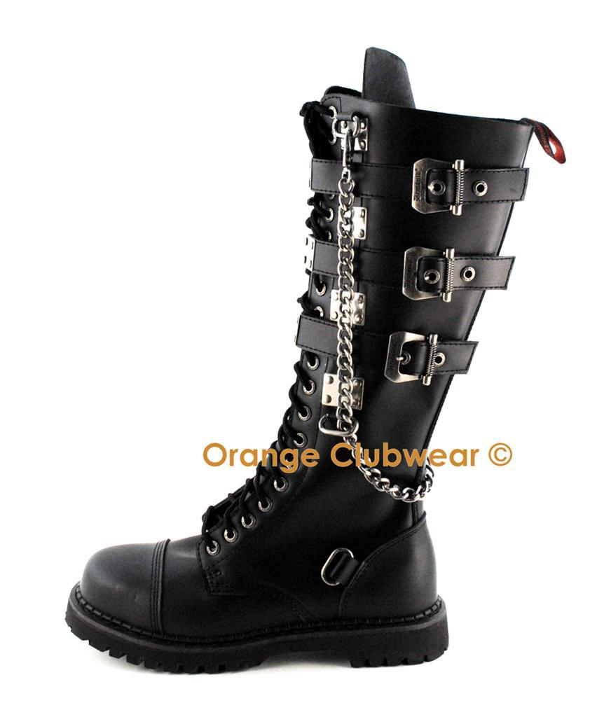DEMONIA Gravel-23 Women's Punk Combat Knee Boots Shoes