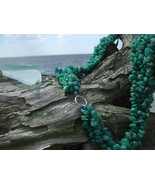 Green Amazonite Torsade necklace Silver toggle - $19.99