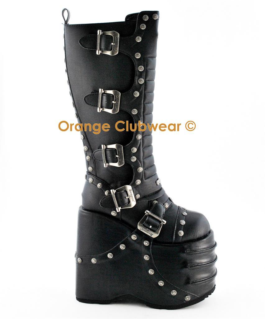 DEMONIA STACK-317 Men's Gothic Buckle Studs Halloween Punk Knee Boots Shoes