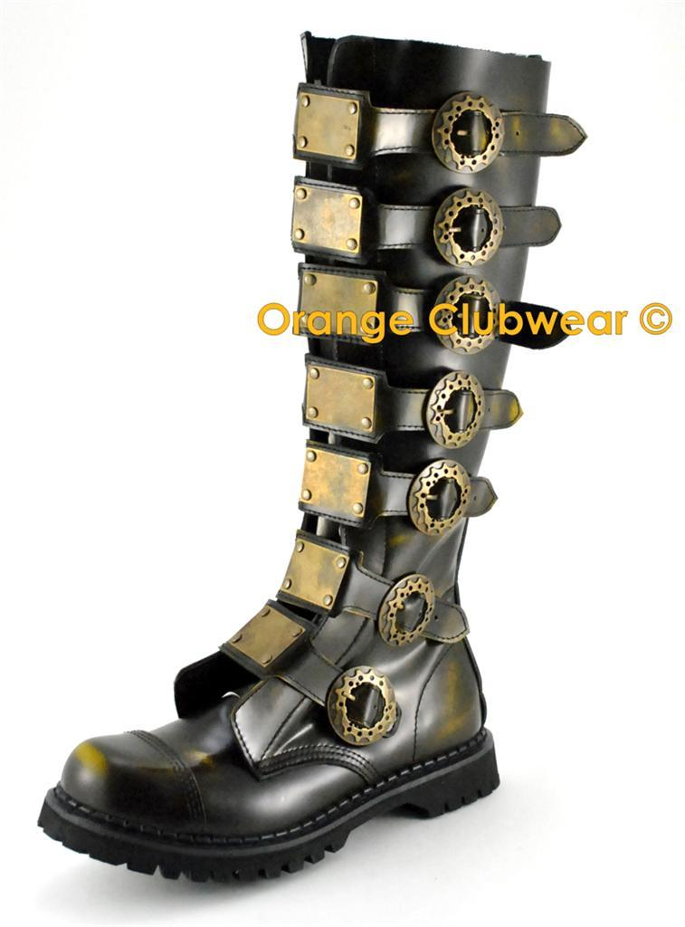 DEMONIA STEAM-30 Steampunk  Gothic Mens Leather Boots