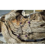 Silver Antique style drop purple glass bead ear... - $7.99