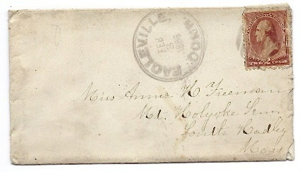 1886 Eagleville CT Discontinued/Defunct (DPO) Post Office Postal Cover
