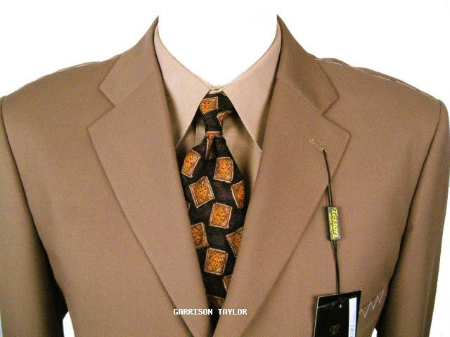 BRONZE SUPER 150  WOOL 3 BUTTON ITALIAN SUIT 52L