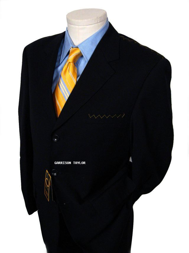 NAVY BLUE WOOL ITALIAN DESIGNER BUSINESS SUIT 48L