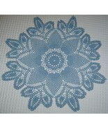 27' BLUE Crocheted Table Round - Pineapple Design - $22.00
