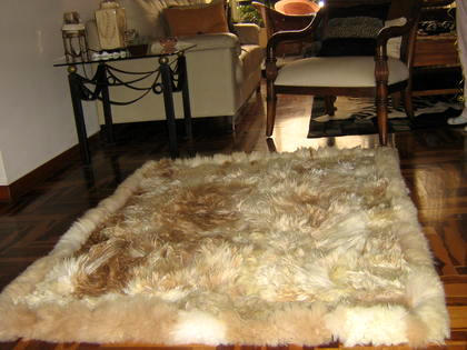 Soft light brown baby alpaca fur carpet, 300 x 280 cm/ 9'84 x 9'18 ft
