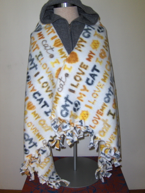 I Love My Cat Fleece Shaw Wrap  Sold to Kitty