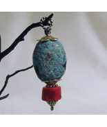 Turquoise, Coral and Sterling Pendant RKS47 - $36.00