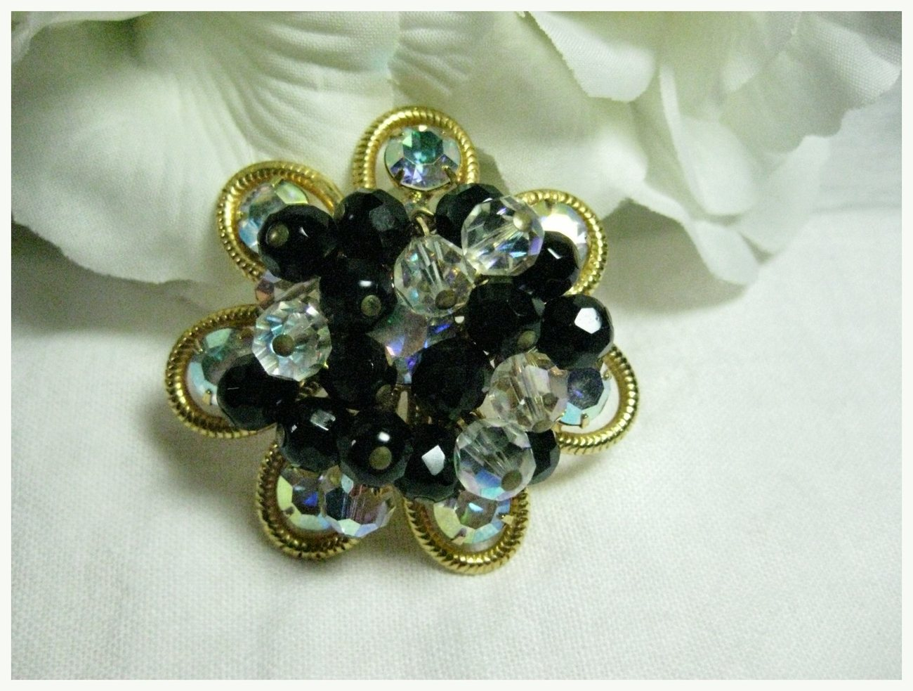 Vintage Black Glass & AB Crystal Bead Dangle Brooch