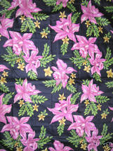 Vintage 40s 50s Orchid Print Fabric Glazed Cotton - $130.00