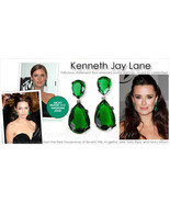 NEW Kenneth Jay Lane EMERALD Swarovski Crystal Tear Drop Pierced Earrings  - $118.00