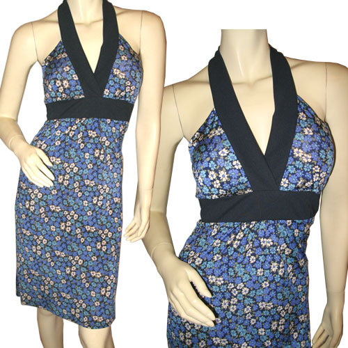 Navy Blue Halter DRESS Purple Blue Floral Prints Medium