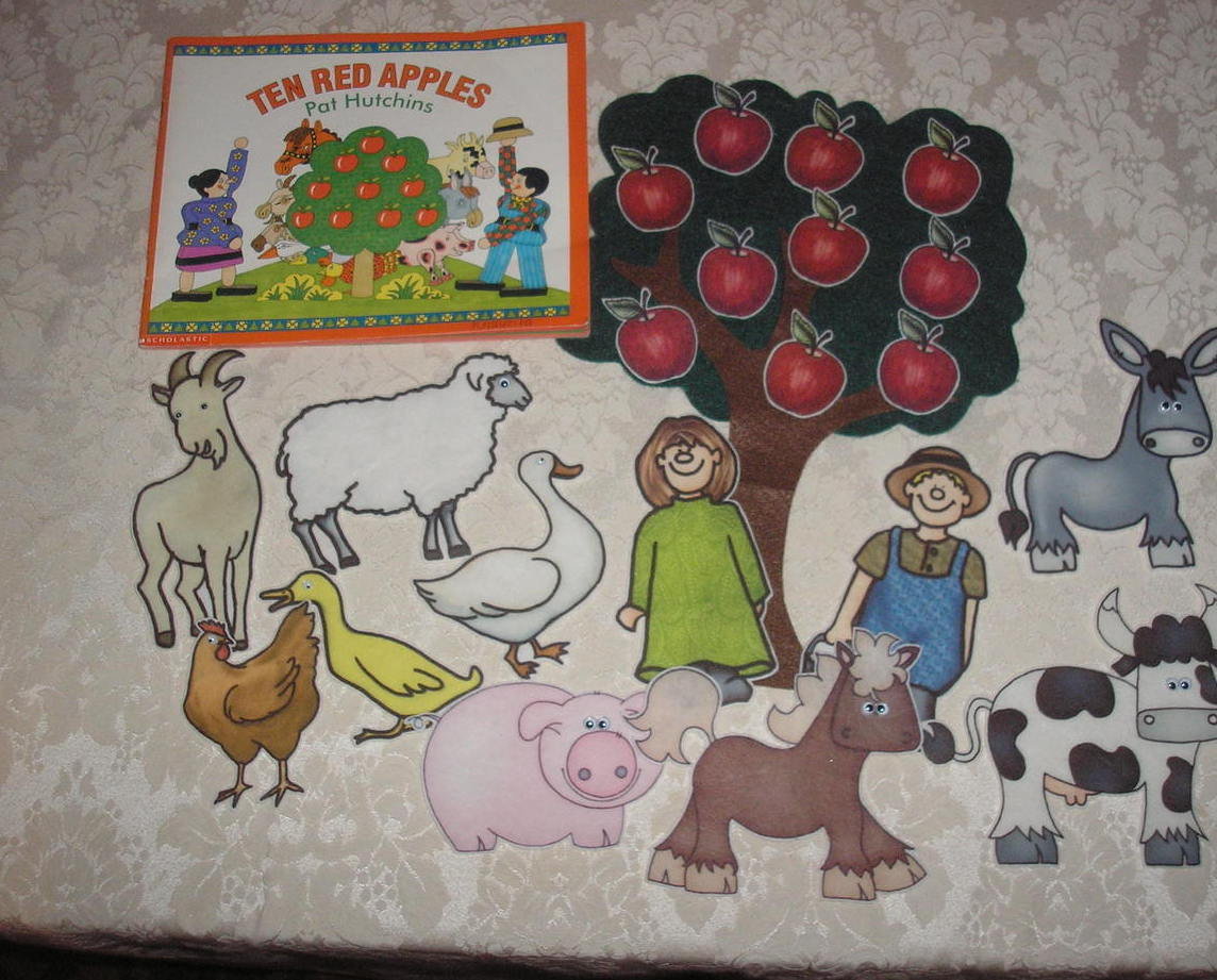 Ten Red Apples Pat Hutchins felt board set with sc book