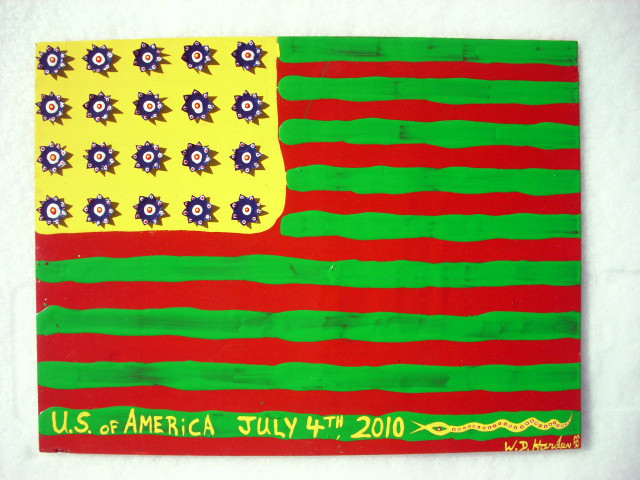 USA JULY 4th FLAG. Abstract  Outsider Folk Art W. D. HARDEN