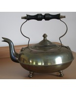 Brass Footed Tea Kettle Black Wooden Handle Goo... - $19.93