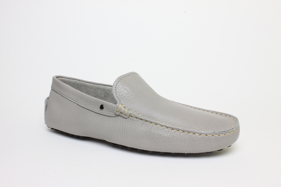 New Authentic $590 Tods Gommini Driving Gray Leather Moccasins Shoes US 8 EU