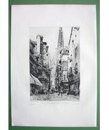 ORIGINAL ETCHING !! Rouen France Street de L'Epicerie - $52.77