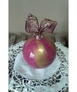 Glass Gold & Mauve Christmas Ball Ornament - $10.00