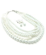 White glass pearl layered fashion necklace earr... - $18.81
