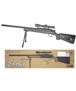ZM51 Bolt Action Spring Powered Airsoft Sniper Rifle w/ Scope & BiPod Black  - $55.26