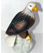 Bald Eagle Figurine Statue Vintage Bisque Ceramic  - $7.50