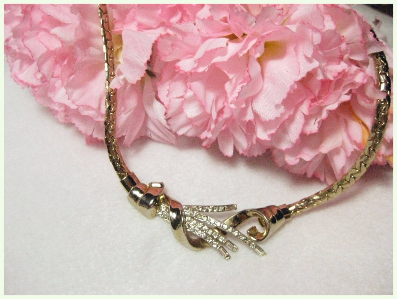 Vintage Clear Rhinestones & Baguettes Spray Necklace