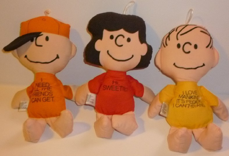 "Lot of 3 PEANUTS Vintage Cloth beanbag Plush Dolls CHARLIE BROWN LUCY LINUS 10""L"