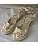 New cream size 7 shoes with ballet-style ribbon... - $10.00