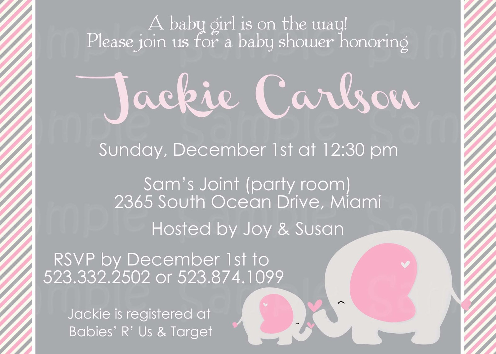 baby elephant baby shower or birthday printable invitation blue