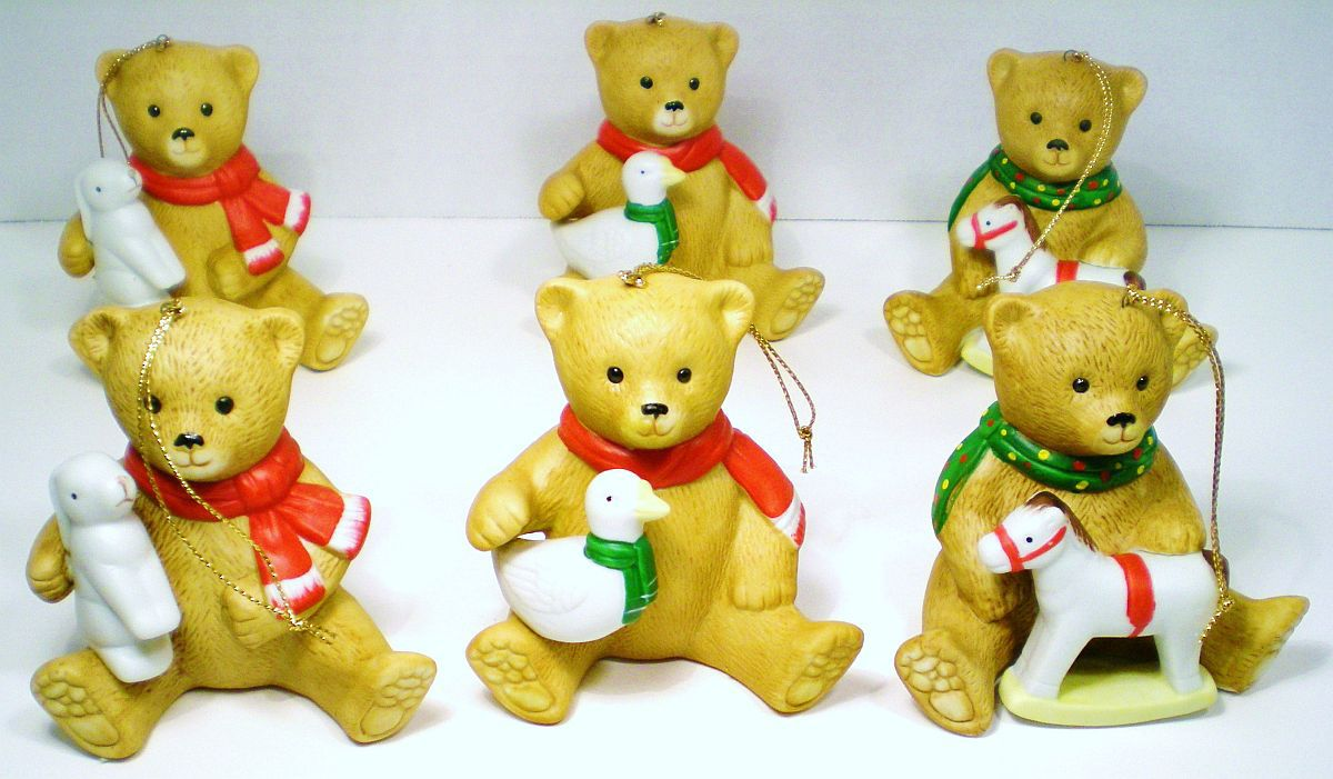 Ceramic porcelain bear ornaments 6 Bears with toys QVC 1990