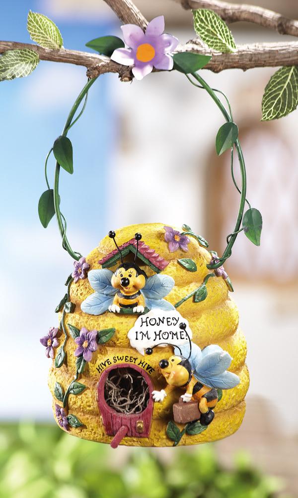 Image 1 of Bee Hive Birdhouse w/ Hanging Hook