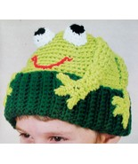 Frog Hat, Animal Cap Toboggan, Kids Adults, CUTE Trendy, Crochet Pattern - $10.50