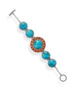 Turquoise and Coral Sunburst Design Toggle Brac... - $389.95