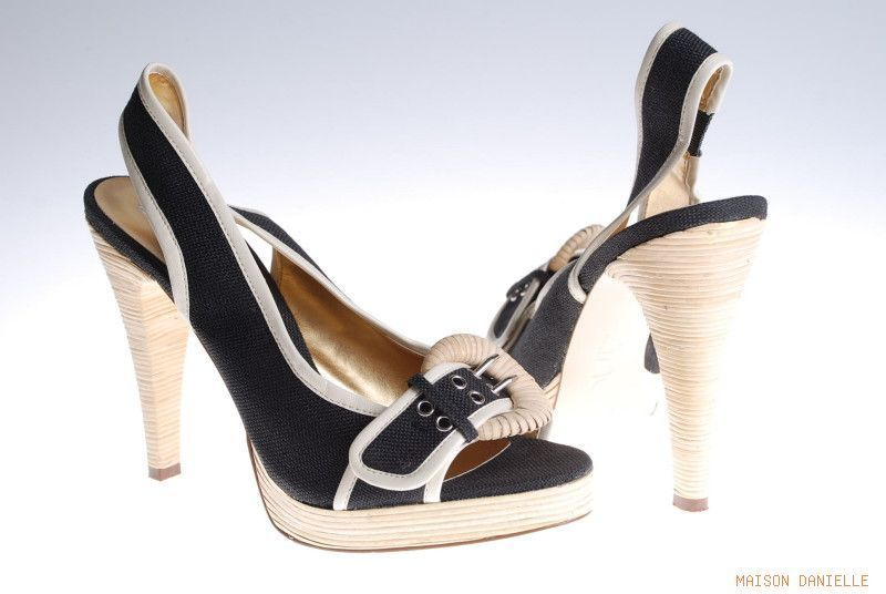 New ZINC Made in Spain BLACK Canvas Cream Leather Trim Peepto Platform Heels 7.5