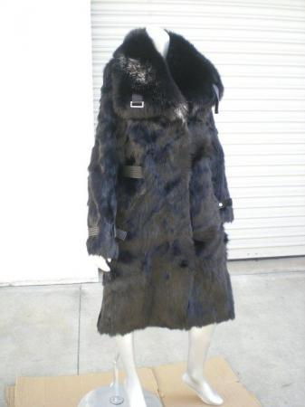 Designer Funky East Real Fur Blue Fox Collar Coat NWT