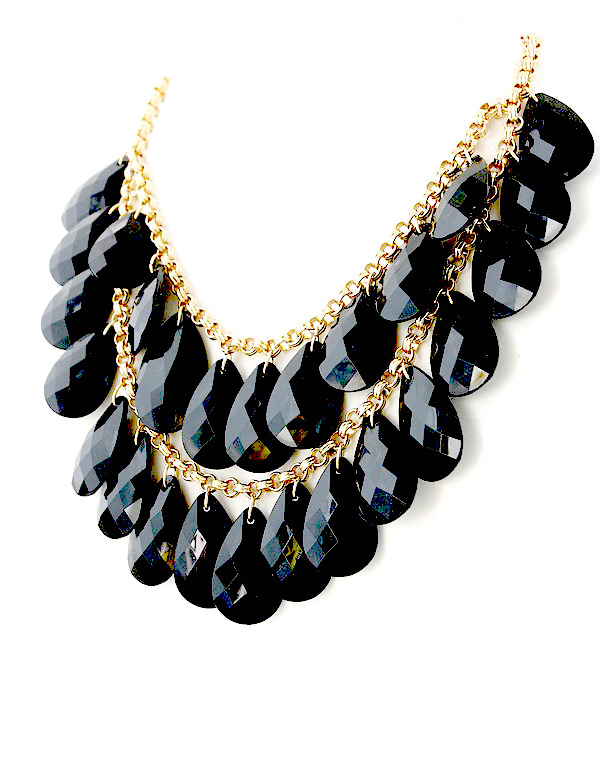 KATE SPADE Fashion Statement Necklace with Large Black Drops Clearance