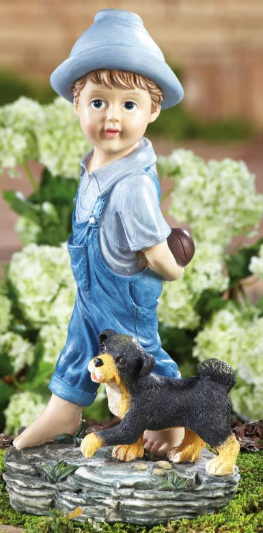 Image 0 of                    Playing Catch Boy & Dog Garden Figurine