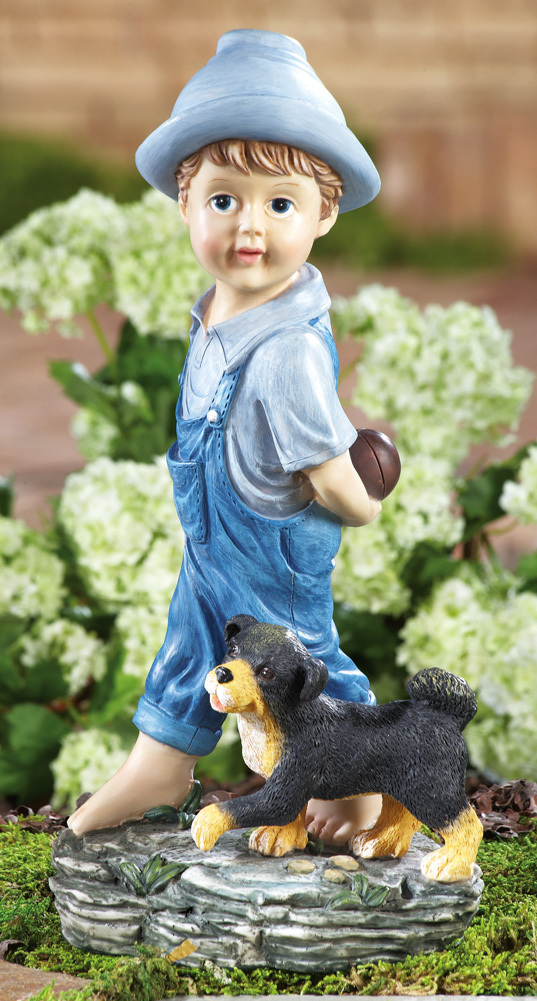 Image 1 of                    Playing Catch Boy & Dog Garden Figurine