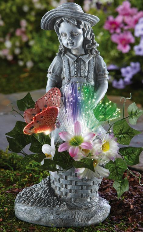 Fiber Optic Flower Girl Garden Statue